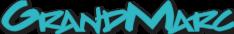 GrandMarc logo in teal color with an undershadow