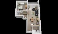 1x1 apartment bedroom thumbnail