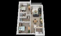 2x2 apartment bedroom thumbnail